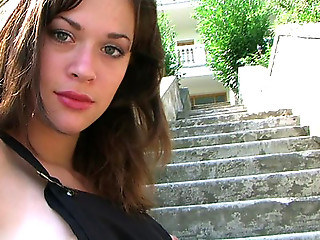 Busty teen nansy exposes her milky flesh on the stairs