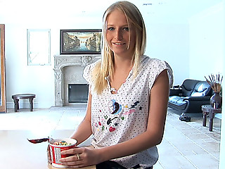 Blonde nubile nymph massages her supple teen breasts
