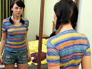 Fresh teen Tanna checks out her perfect perky boobies in the mirror